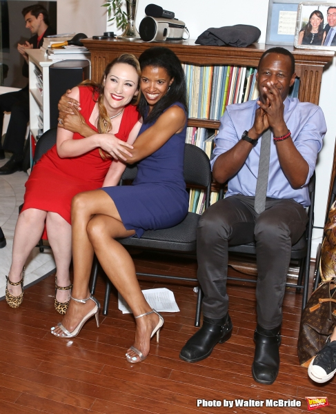 Eden Espinosa, Renee Elise Goldsberry and Marcus Paul James attend ''Parlor Night'' A benefit evening for The Broadway Inspirational Voices Outreach Program at the home of Roy and Jenny Neiderhoffer on June 22, 2015 in New York City.