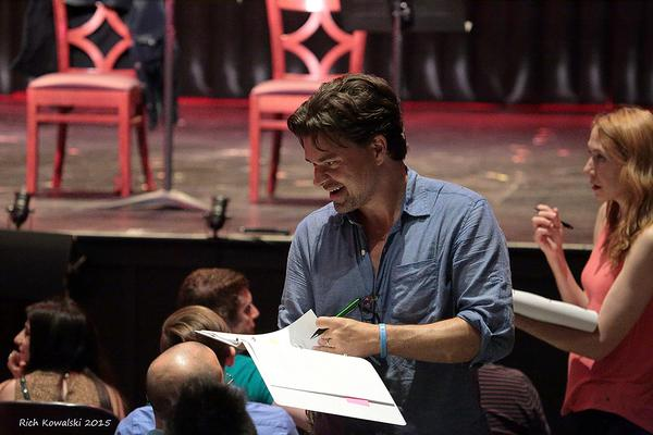 Hunter Foster (center) and Laura Jordan, chat with the audience as they gather words  Photo