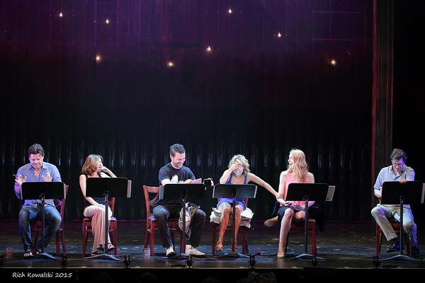 The giggling begins with the very first line! (l to r) Hunter Foster, Kate Wetherhead, Justin Guarini, Jennifer Cody, Laura Jordan & John Bolton