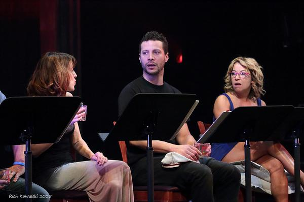 A startling reveal! (l to r) Kate Wetherhead, Justin Guarini & Jennifer Cody