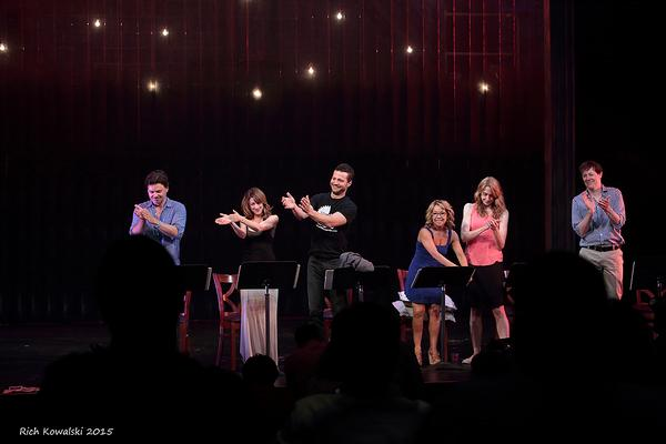 The cast returns the audience''s standing ovation.(l to r) Hunter Foster, Kate Wetherhead, Justin Guarini, Jennifer Cody, Laura Jordan & John Bolton