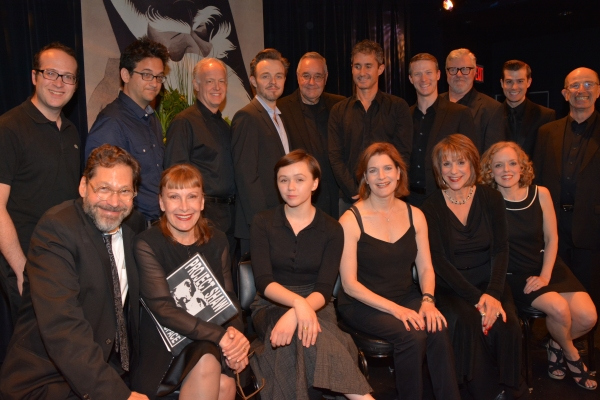 David Staller with the cast-Matt Windman, Jason Zinoman, Reed Birney, Matthew Newton, Michael Sommers, Marc Vietor, Jeff Kready, Dan Daily, Nick Spangler, Everett Quinton, Laura Kenyon, Emily Skeggs, Roma Torre, Jana Robbins and Nancy Anderson
