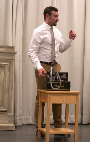 Jake Robertson as Henry Higgins in a rehearsal for Pygmalion.