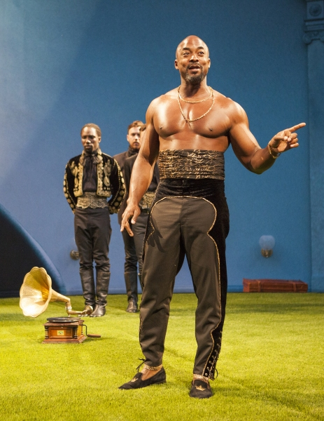 (foreground) Terence Archie as Orsino with (background, From left) Jamal Douglas and Daniel Petzold