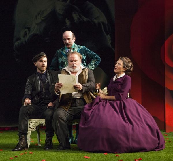 Daniel Petzold as Fabian, Patrick Kerr as Andrew Aguecheek, Tom McGowan as Sir Toby Belch, and Amy Aquino as Maria