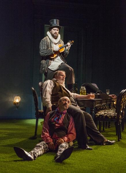 (from top) Manoel Felciano as Feste, Tom McGowan as Sir Toby Belch, and Patrick Kerr as Andrew Aguecheek