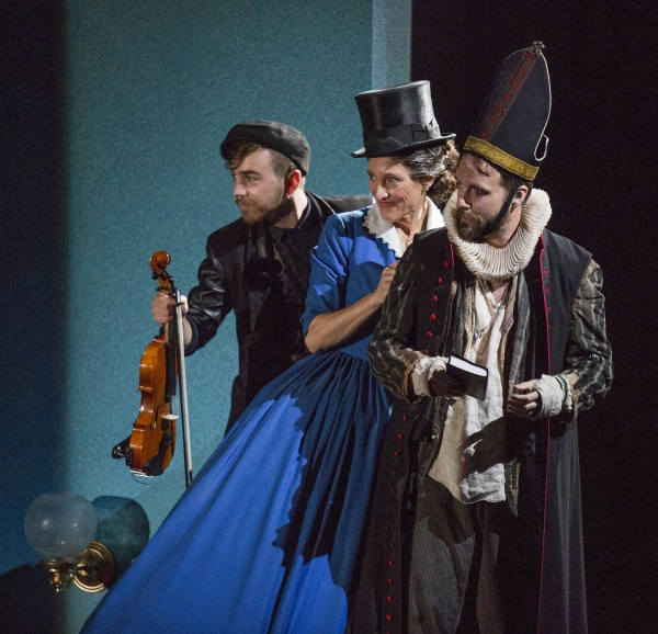 Daniel Petzold as Fabian, Amy Aquino as Maria, and Manoel Felciano as Feste