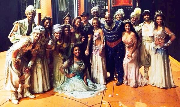 Adam Lambert with the Broadway cast of Disney's Aladdin