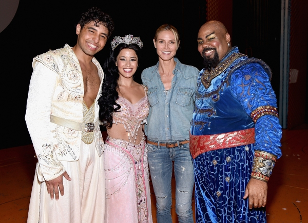 Heidi Klum poses backstage with Disney''s ALADDIN 'Trent Saunders, Courtney Reed and James Monroe Iglehart