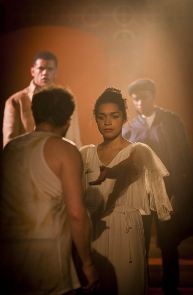 Malvolio (Tony Bell), Orsino (Julian Moore-Cook), Olivia (Olivia Onyehara) and Viola (Pepter Lunkuse)