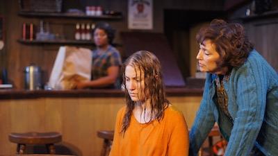 (foreground) Abby Fields & Catalina Maynard (as Joan & Casey); (background) Yolanda Franklin (as Lila)