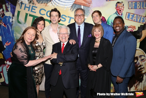 Dale Soules, Zoe Winters, Michael Urie, Jerry Zaks, Douglas Carter Beane, Patti LuPone, Jordan Dean and Lance Coadie Williams during the Opening Night Photo Opportunity for The Lincoln Center Theatre Production of ''Shows For Days''  at The Mitzi E. Newho