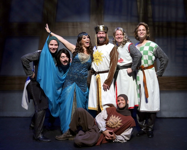 Spamalot cast members (left to right) Mark Maddy as Sir Lancelot, Kyle Bochart as Sir Bedevere, Jackie Schmillen as The Lady of the Lake, Kent Fieldsend as King Arthur, Brett Spahr as Patsy (on the floor), Charlie Reese as Sir Galahad, and Brad D. Church