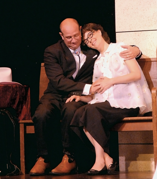 John Vessels as the Rev. Mervin Oglethorpe and Sarah Hund as June Sanders Photo
