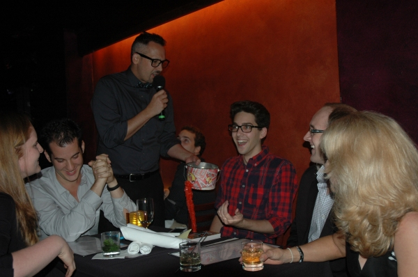 Host Ben Cameron (standing) at the special NYMF Sneak Peak edition of BROADWAY SESSIONS.