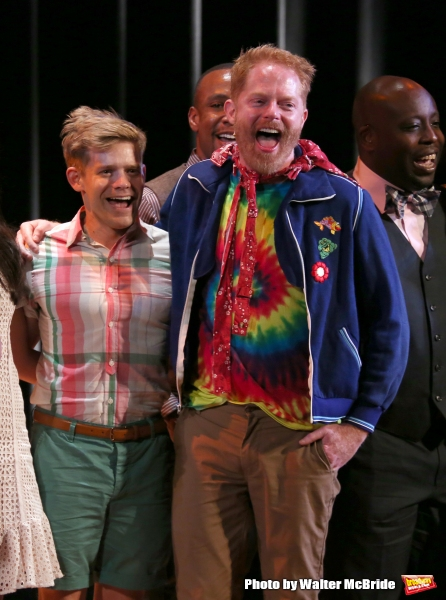 Andrew Keenan-Bolger and Jesse Tyler Ferguson during the Curtain Call for the One Night Only 10th Anniversary Concert of ''The 25th Annual Putnam County Spelling Bee'' at Town Hall on July 6, 2015 in New York City.