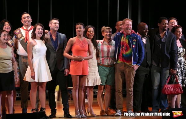 Cast Alumni featuring:  Jose Llana, Andrew Keenan-Bolger, Jesse Tyler Ferguson and Derrick Baskin during the Curtain Call for the One Night Only 10th Anniversary Concert of ''The 25th Annual Putnam County Spelling Bee'' at Town Hall on July 6, 2015 in New