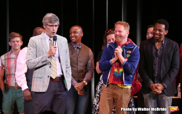 Mo Rocca, Jesse Tyler Ferguson and Derrick Baskin during the Curtain Call for the One Night Only 10th Anniversary Concert of ''The 25th Annual Putnam County Spelling Bee'' at Town Hall on July 6, 2015 in New York City.