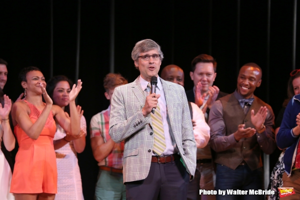 Mo Rocca and Alumni cast during the Curtain Call for the One Night Only 10th Anniversary Concert of ''The 25th Annual Putnam County Spelling Bee'' at Town Hall on July 6, 2015 in New York City.