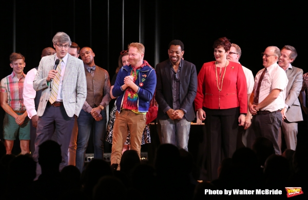 Mo Rocca, Jesse Tyler Ferguson, Derrick Baskin, Lisa Howard and Jay Reiss during the Curtain Call for the One Night Only 10th Anniversary Concert of ''The 25th Annual Putnam County Spelling Bee'' at Town Hall on July 6, 2015 in New York City.
