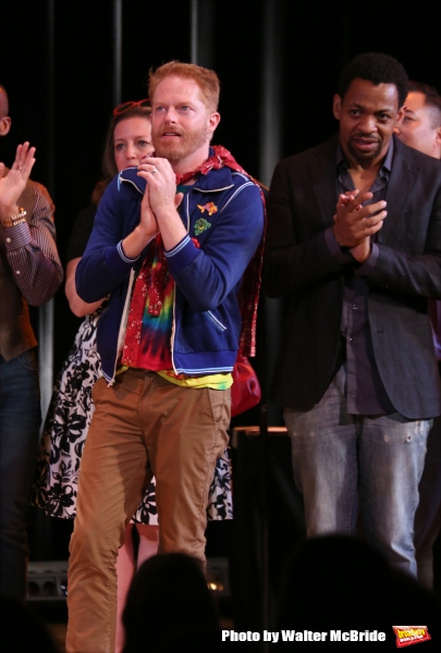 Jennifer Simard, Jesse Tyler Ferguson and Derrick Baskin during the Curtain Call for the One Night Only 10th Anniversary Concert of ''The 25th Annual Putnam County Spelling Bee'' at Town Hall on July 6, 2015 in New York City.