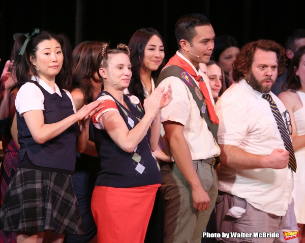 Deborah S. Craig, Sarah Saltzberg, Jose Llana and Dan Fogler during the Curtain Call for the One Night Only 10th Anniversary Concert of ''The 25th Annual Putnam County Spelling Bee'' at Town Hall on July 6, 2015 in New York City.