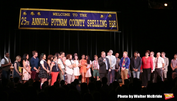 John Gordon with cast alumni during the Curtain Call for the One Night Only 10th Anniversary Concert of ''The 25th Annual Putnam County Spelling Bee'' at Town Hall on July 6, 2015 in New York City.