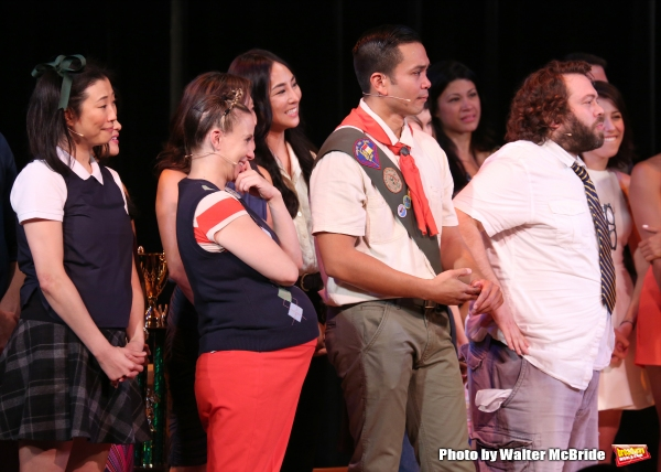 Cast Alumni featuring: Deborah S. Craig, Sarah Saltzberg, Jose Llana, Dan Fogler during the Curtain Call for the One Night Only 10th Anniversary Concert of ''The 25th Annual Putnam County Spelling Bee'' at Town Hall on July 6, 2015 in New York City.