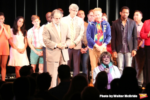 Phyllis Newman with Cast Alumni cast during the Curtain Call for the One Night Only 10th Anniversary Concert of ''The 25th Annual Putnam County Spelling Bee'' at Town Hall on July 6, 2015 in New York City.