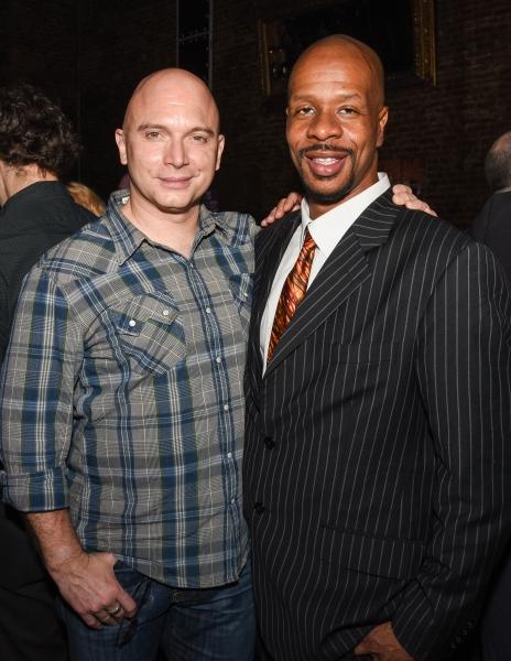 Tony winner Michael Cerveris congratulating ACAPPELLA producer Greg Cooper at the NYM Photo