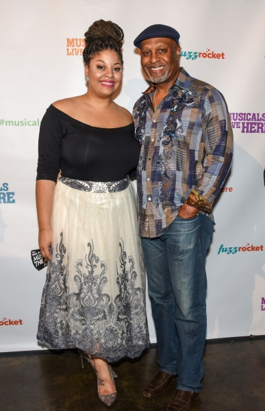 GREY''S ANATOMY''s James Pickens, Jr. with daughter Gavyn Pickens of ACAPPELLA at the NYMF opening party.