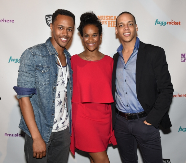 Anthony Chatmon II, Darilyn Castillo and Tyler Hardwick of ACAPPELLA at the NYMF opening party.