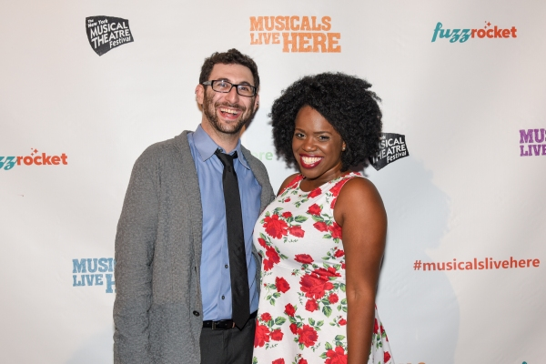 Evan Feist, ACAPPELLA Music ', with performer Janelle McDermoth at the NYMF opening party.