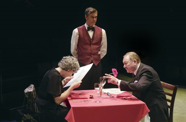 Elizabeth Boag as Mrs Pearce, Stephen Billington as the waiter and Russell Dixon as M Photo