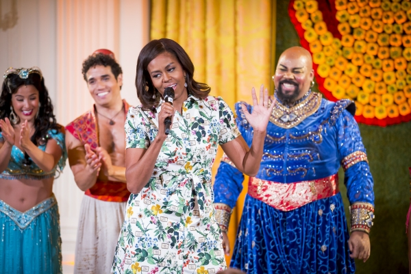 First Lady Michelle Obama and the cast of ALADDIN (Courtney Reed, Adam Jacobs and Jam Photo