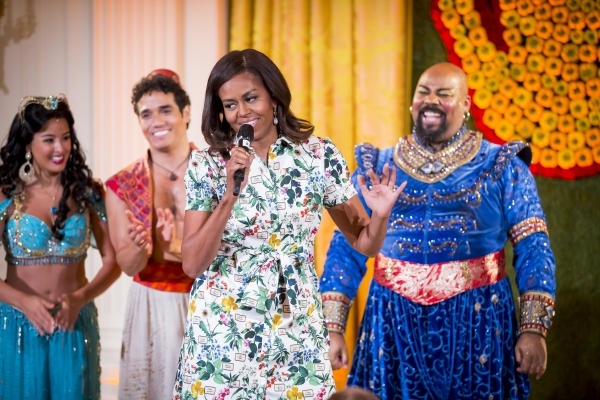 First Lady Michelle Obama and the cast of ALADDIN (Courtney Reed, Adam Jacobs and James Monroe Iglehart) at the White House Kids'' State Dinner