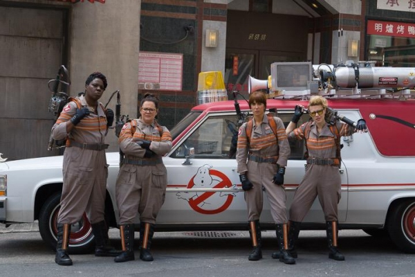 Leslie Jones, Melissa McCarthy, Kristen Wiig and Kate McKinnon in costume for the GHOSTBUSTERS reboot.