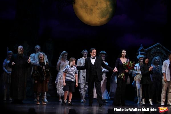 Brooke Shields as Morticia Addams with Brad Oscar, Zachary James, Jackie Hoffman, Adam Riegler, Roger Rees, Rachel Potter