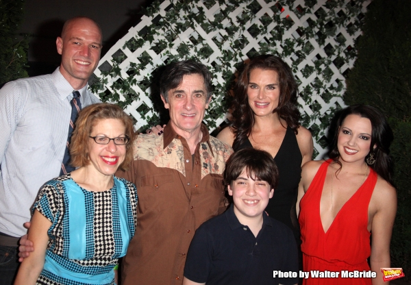 Zachary James, Jackie Hoffman, Roger Rees, Adam Riegler, Brooke Shields & Rachel Potter.attending the After Performance Reception for Brooke Shields debut in ''The Addams Family'' at the Empire Hotel Roof in New York City.