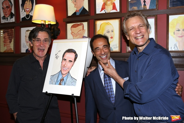 Roger Rees, Hal Luftig and Rick Elice attend the Hal Luftig Sardi''s Caricature Unveiling  at Sardi''s Restaurant on June 11, 2014 in New York City.