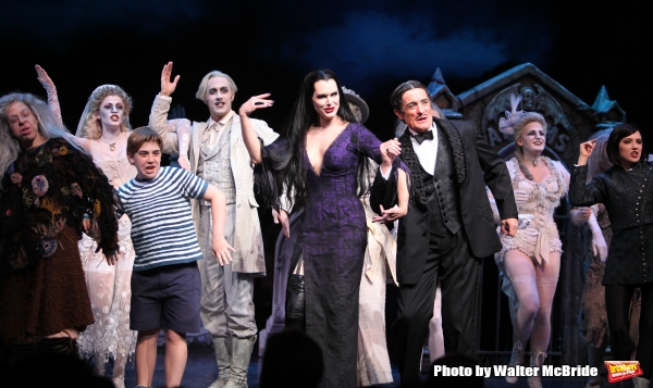 Brooke Shields as Morticia Addams & Roger Rees with Ensemble.at the Curtain Call for her debut in ''The Addams Family'' at the Lunt-Fontanne Theatre  in New York City.
