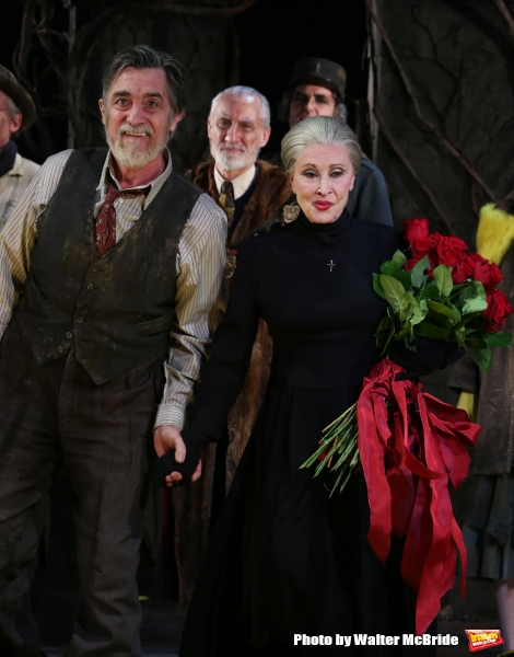 Roger Rees, David Garrison and Chita Rivera during the Broadway Opening Night Performance Curtain Call for ''The Visit''  at the Lyceum Theatre on April 23, 2015 in New York City.