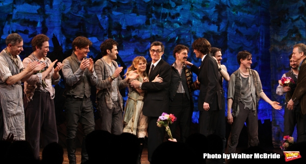 Arnie Burton, John Sanders, Rick Holmes, Adam Chandler-Berat, Celia Keenan-Bolger, Roger Rees, Christian Borle, Alex Timbers, Rick Elice, Kevin Del Aguila & Carson Elrod with Ebsemble.during the Broadway Opening Night Performance Curtain Call for ''Peter