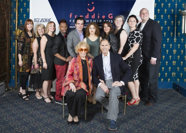 (front row) Myrna and Freddie Gershon; (back row) Debbie Rollins, Dee Anne Bryll, Erin Langley, Jose Rondon Jr., Brian d''Arcy James, Bernadette Peters, Beatrice (Bibi) Balerdi, Lisa Morrow, Allison Isom, Ryan Olson