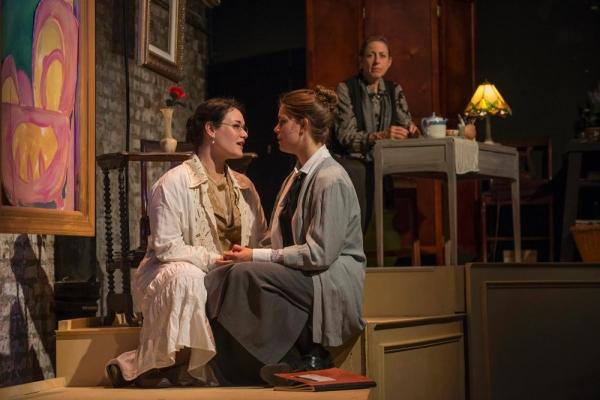 Emily Goldberg as Alice B. Toklas, Amanda Giles as Young Gertrude and Caron Buinis as Gertrude Stein
