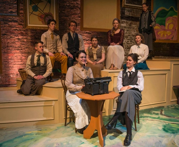 Emily Goldberg as Alice B. Toklas, Amanda Giles as Young Gertrude with (back, left to right) Andrew Lund, George Toles, Jake Morrissy, Maisie Rose, Stephanie Stockstill, Sarah Hayes and Caron Buinis as Gertrude Stein