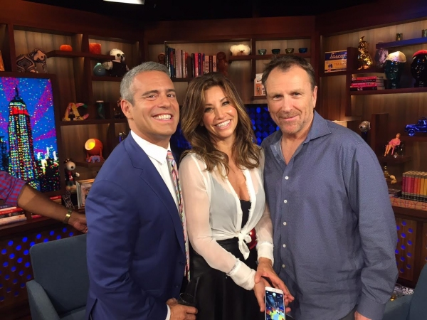 Andy Cohen, Gina Gershon and Colin Quinn