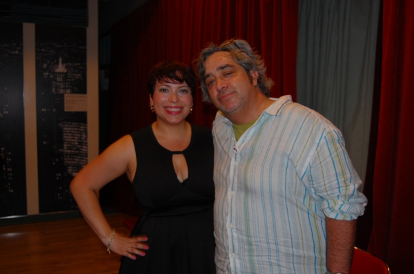 Hi-ARTS' Tiffany Vega (accepting award for Kamilah Forbes) with Stephen Adly Guirgis