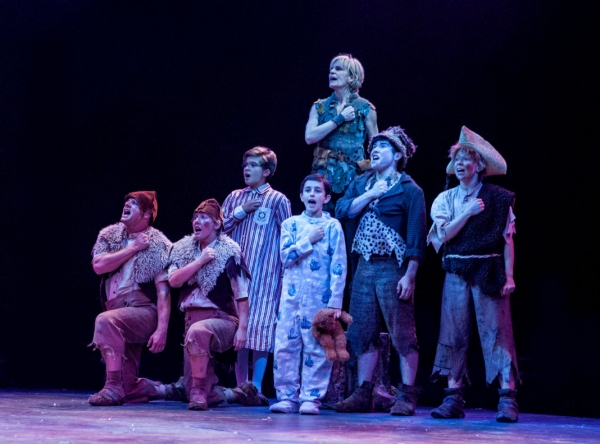 Michael McGurk as 2nd Twin, Sarah Marie Jenkins as 1st Twin, Aidan Winn as John Darling, Joshua Davis as Michael Darling, Jenn Colella as Peter Pan (back), Andy Richardson as Slightly and Maria Briggs as Tootles