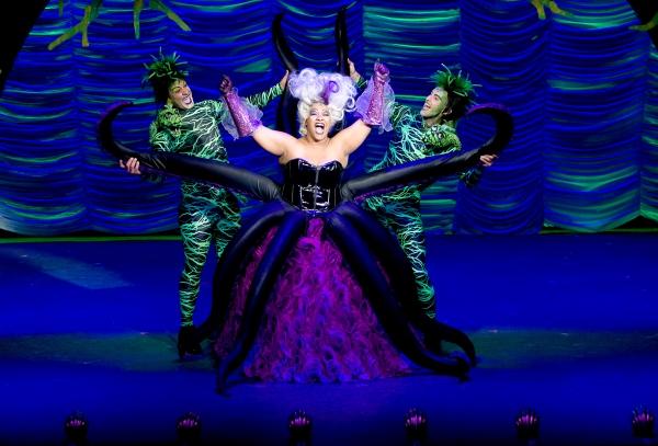 Keisha Giles (Ursula) with Robert Conte (Flotsam) and Daniel Hurst (Jetsam)